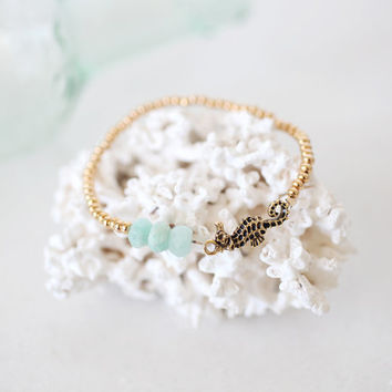 Gold and Mint Seahorse Bracelet