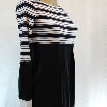 Upcycled Clothing / Funky Eco Tunic Dress / Black and White Top / XSmall / Small