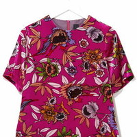 Hatty Floral Velvet Tee by Boutique - Bright Pink