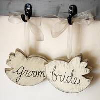 Wedding Sign Bride Groom Chairs Wood Birds by OldNewAgain on Etsy