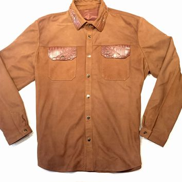 G-Gator Cognac Suede Alligator Button Up Shirt