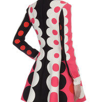 Valentino Carmen Stripe Dot Dress with Plunging Neck