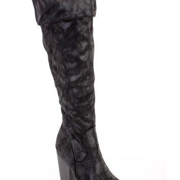Black Chunky Thigh High Heel Boots Faux Leather