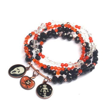 Halloween bracelet, spooky jewelry, halloween bracelet, skeleton bracelet, Halloween jewerly, ghost jewelry, Halloween ghost, skull bracelet