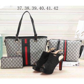 PEAPV9O LV LOUIS VOITTON 2018 Women's Premium 4-piece Heels & Leather Tote F-KSPJ-BBDL Black bag