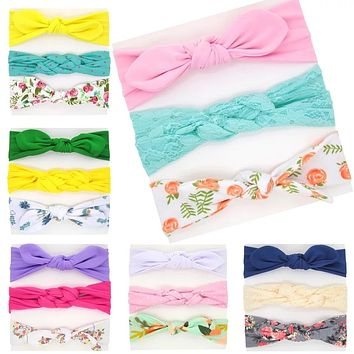 3PCS Baby Girls Headband  Bowknot Flower Hair Band Accessories Baby headdress Cotton Headwear kid Girls hair Accessories  Set