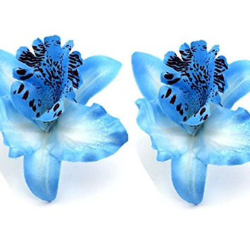 Dreamlily Hawaiian Orchid Flower Hair Clip Hair pins for Beach Party BC14 (Blue)