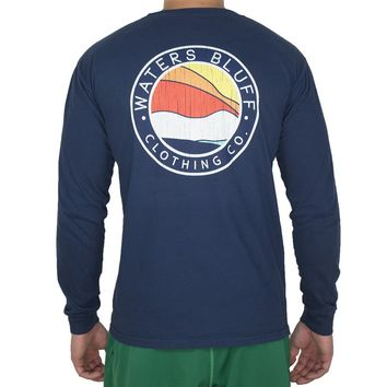 Bluff Horizon Long Sleeve Tee Shirt in True Navy by Waters Bluff