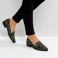 Glamorous Green Floral Jacquard Loafers at asos.com
