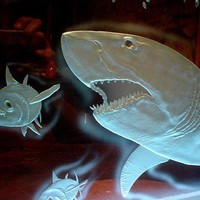 Great White Shark Panel Sculpture LED lights Carved by hunterglass