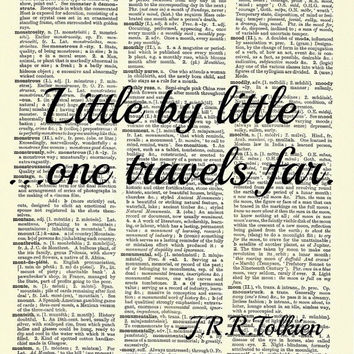 J.R.R. Tolkien Travel Hobbit Dictionary Wall Art Print Book Inspirational Page 8 x 11