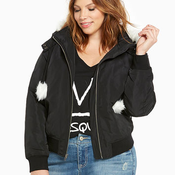 Nylon Bomber Jacket With Faux Fur Hood and Pom Pom