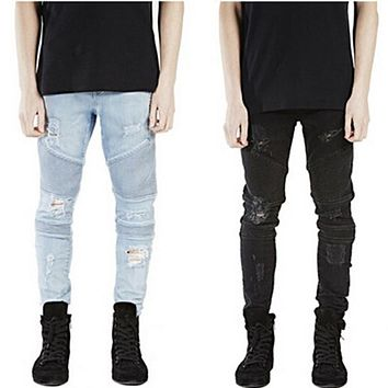 2017 Rock Star Clothing  Blue/black/khaki Destroyed Menstrousers Slim Denim Straight Biker Skinny Pants Men Ripped Jeans