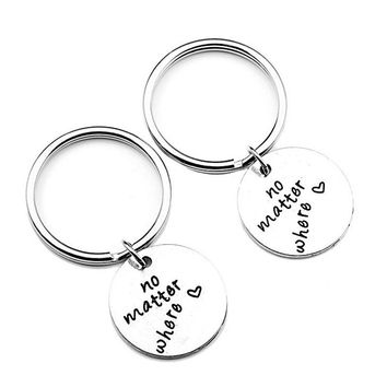 1 Pair No Matter Where Best Friends Love Keyring Keychain Keyfob Jewelry Long Distance Relationship Gifts Boyfriend Girlfriend