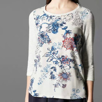 White Floral Print Long-Sleeve Shirt