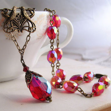 Be My Valentine Ruby AB vintage glass necklace by shadowjewels
