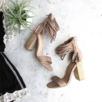 suede it my way chic heel sandals- taupe