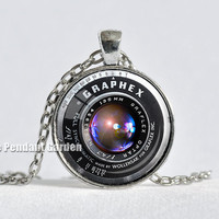 VINTAGE CAMERA LENS Necklace Black Silver Red Graflex Lens Pendant Camera Pendant Gift for Photographer Photography Not an Actual Lens 25mm