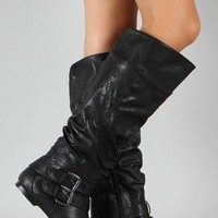 Vickie-20 Buckle Slouchy Knee High Boot