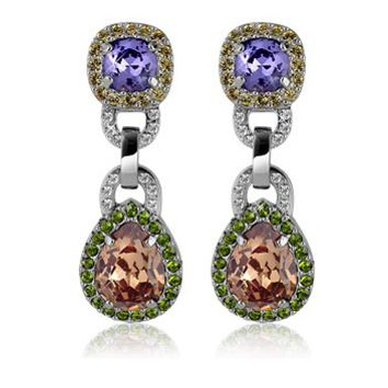 AZ Collection Designer Earrings Purple & Orange Clip-On Earrings