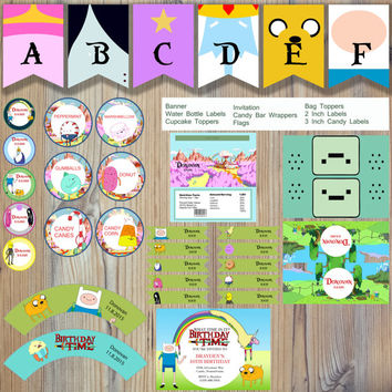 Instant Download - Adventure Time Finn Human Jake Dog Ice King Princess Bubblegum Editable Printable Party Package Event Invitation Template