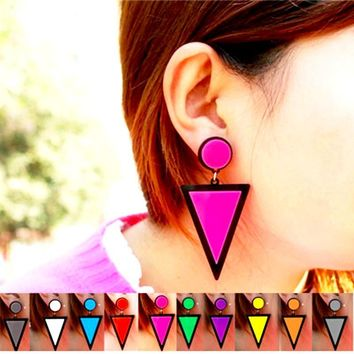 80s Retro Style Fluorescent Colorful Triangle Stud Drop Dangle Earrings For Women