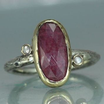 A Sapphire Tourmaline Gold  Silver  Jewelry Handmade  Metalwork Ring   Womans Sapphire Ring Organic Band  Twig Ring