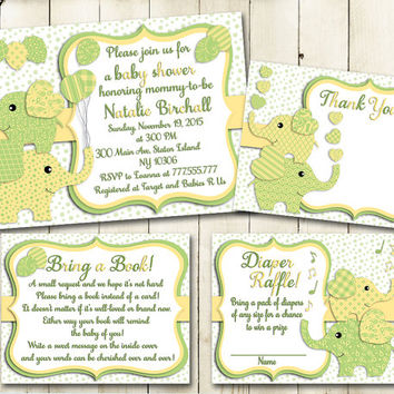 Shop yellow baby shower invitations on wanelo green yellow elephant baby shower printable invitation set baby boy digital invite with inserts thank you filmwisefo