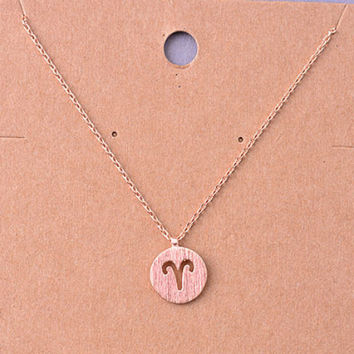 Aries Rose Gold Zodiac Charm Necklace