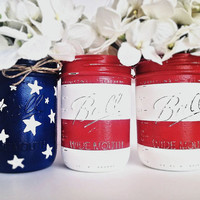 Fourth of July Decor, 4th of July, Holiday Decor, Mason Jars