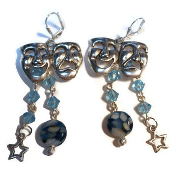 Comedy and Tragedy Theatre mask earrings with wire wropped Swarovski drops
