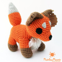 Handmade Poseable Cute Fox Plush Amigurumi Crochet Stuffed Animal