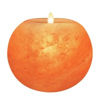 Himalayan Glow 3027 Natural Himalayan Pink Salt Candle Holder, 3 Inches Height (1.5 lbs.), Home Décor Round Ball Style Hand Carved Himalayan Pink Salt Rock 1 Hole Tealight Candle Holder