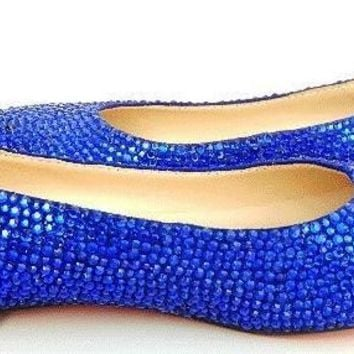 Bedazzled Luxy Ballet Flats In Black With Sapphire Blue Crystals