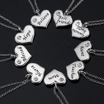 Family Gifts Love Mom Mommy Daddy Sister Grandma Believe Friends BFF Crystal Heart Pendant Necklace Chain Jewelry Party