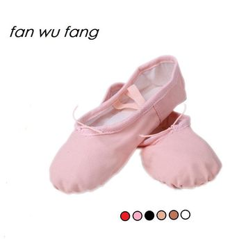 fan wu fang 6 Color Canvas Soft Ballet Dance Shoes For Children Girls Women  Slippers According The CM To Buy