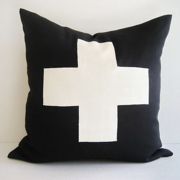 Pillow Cover Black Linen Swiss Cross by theCottageWorkroom on Etsy