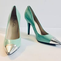 Patent Marc Fisher Heels, Mint Silver Toe, Size 7M Designer Heels, Antique Alchemy
