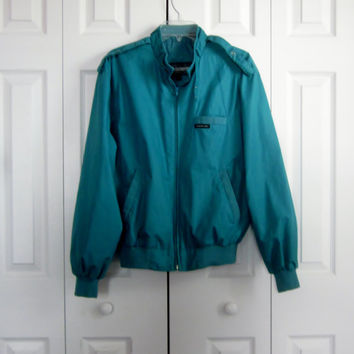 Vintage Teal Members Only Jacket, Mens Size 40, Golf Jacket, Lined Light Weight Jacket, Turquoise Green