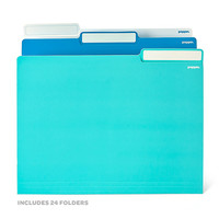24 White, Pool Blue + Aqua Letter-Size File Folders | Folios & Folders | Poppin