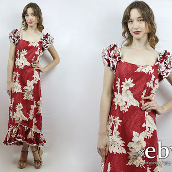 Vintage 70s Red Hawaiian Floral Maxi Dress S Floral Party Dress Hawaiian Dress Luau Dress 1970s Maxi Dress 70s Dress Hawaiian Maxi Dress