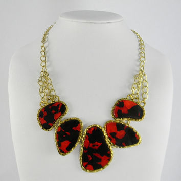 STATEMENT Necklace - Marbled Crimson Red & Onyx Black Big Chunky Beads Necklace