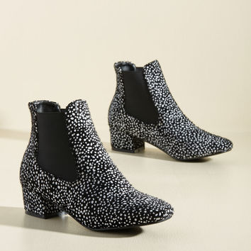 Get Up and Go-Go Bootie in Black Dots | Mod Retro Vintage Boots | ModCloth.com