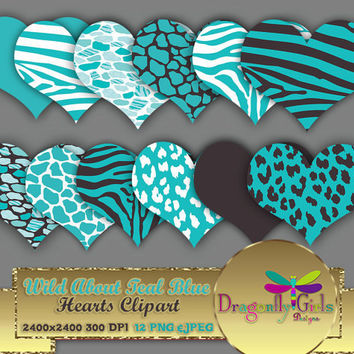 "80% OFF Sale WILD About Teal Blue 8"" Clip Art, commercial use, digital scrapbook papers, vector graphics, printable, Instant Download"