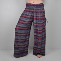 Calypso Patch Pocket Palazzo Pants -- Mexicali Blues