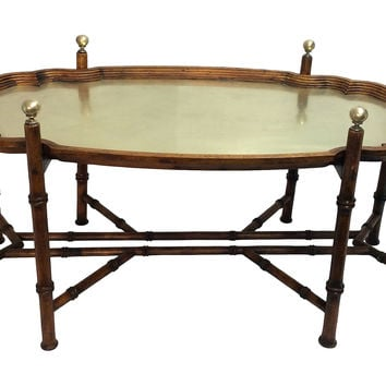 Faux-Bamboo & Brass Tray Table