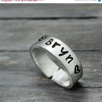 Name Ring, Custom Cuff Ring, Personalized Jewelry, Custom Stamped Ring, Personalized Ring, Adjustable Cuff Ring, Custom Name
