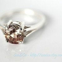 Oregon Sunstone Ring With a Hint of Smoke and Schiller in Sterling Silver 1.825 carats - natural