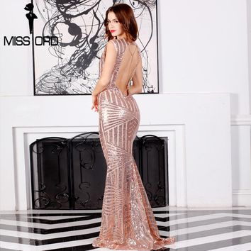 Missord 2018 Sexy  sleeveless backless chian sequin maxi dress FT6860