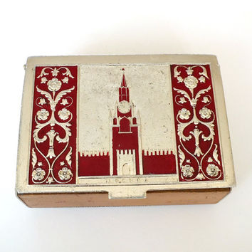 Rare Soviet box Moscow. Antique Russian box with embosed Kremlin on the lid. Burgundy enamel painted box made from wood and metal.
